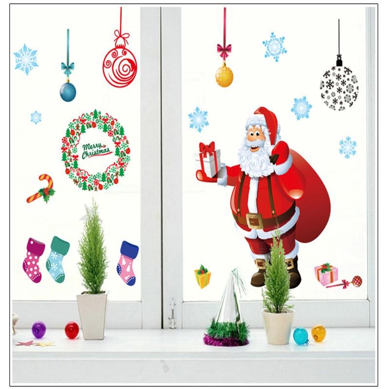 Armario Sala Jantar ~ Papai Noel de Natal decorada Loja de janelas e portas de Vidro e adesivo de parede de quarto de
