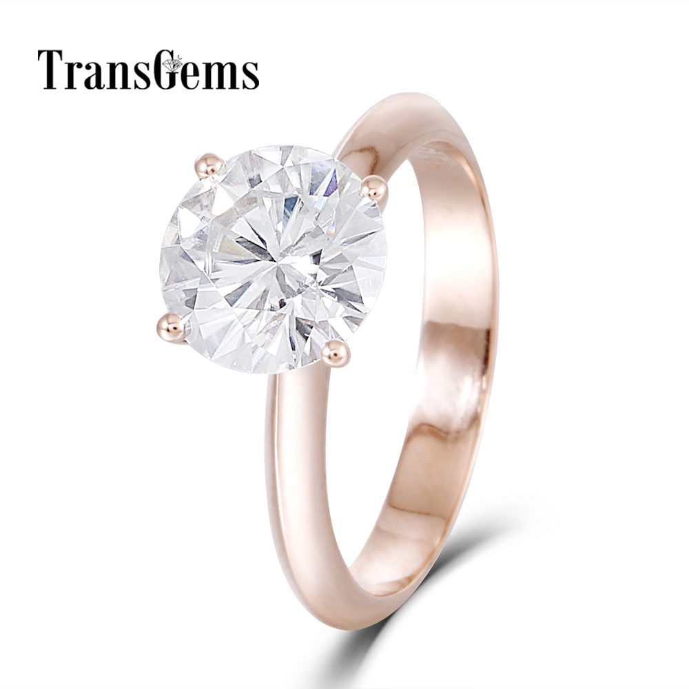 Transgems Solid 14K 585 Rose Gold Center 2.5ct 8.5MM F Color Moissanite Ring for Women Test Positive as Diamond helon solid 18k 750 rose gold 0 1ct f color lab grown moissanite diamond bracelet test positive for women trendy style jewelry