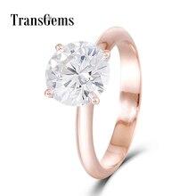 Transgems Solid 14K 585 Rose Gold Center 2.5ct 8.5MM  F Color Moissanite Ring for Women Test Positive as Diamond