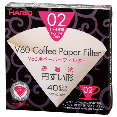 FeiC Hario 02 40-Count Coffee Natural Paper Filters No Bleach For 4 Cups For Barista VCF-02-40M
