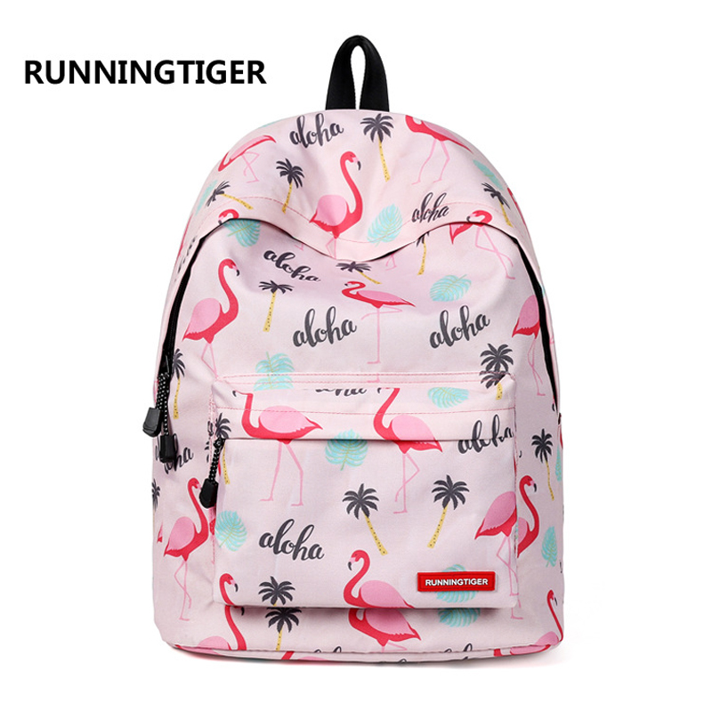 все цены на NEW 3D printing Flamingo school bags for girls laptop travel school backpack mochila escolar infantil Children Book Bag 2018 онлайн