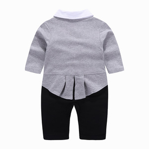 Image 5 - 1 set baby wedding birthday party Tuxedo twins cotton bodysuit outfits & set Christening suit photo props outfits