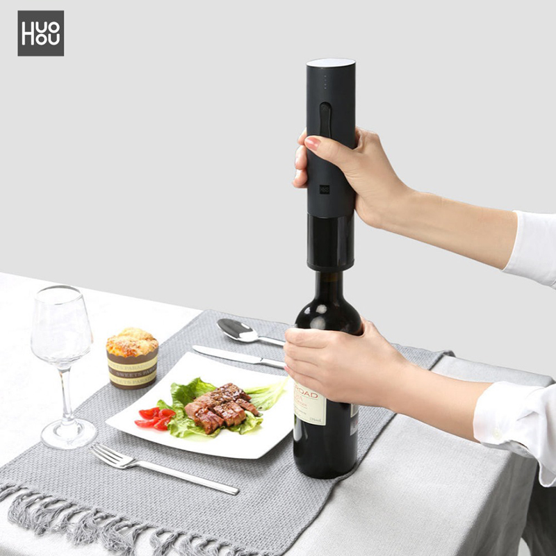 Xiaomi Huohou Automatic Wine Bottle Opener Kit Electric Corkscrew With Foil Cutter Automatic Wine Bottle Opener 1 1 lcd car mp3 player fm transmitter w usb sd tf remote controller black blue