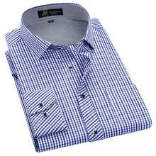 古典的なスタイルの格子縞のシャツ男性シルクと綿生地長袖スリムフィット非鉄因果メンズシャツ