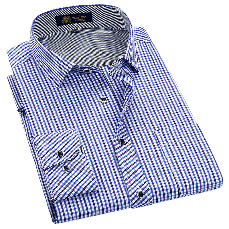 Classic Style Plaid Shirt  For Male  Silk And Cotton Fabric Long Sleeve Slim Fit Non-iron Causal Men's Shirts