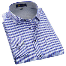 Classic style Plaid shirt  for male  silk and cotton fabric long sleeve slim fit non iron causal mens shirts
