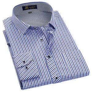 Image 1 - Klassieke Stijl Plaid Shirt Voor Mannelijke Zijde En Katoen Lange Mouwen Slim Fit Strijkvrij Causale Mannen shirts