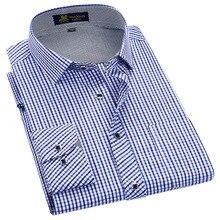סגנון קלאסי משובצת ל זכר משי וכותנה בד ארוך שרוול slim fit ללא ברזל סיבתי גברים של חולצות