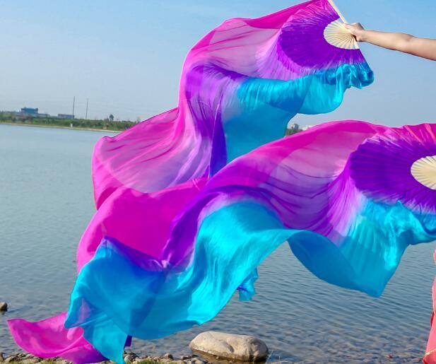 ขายส่งHand Made Belly Danceบูชาผ้าไหมเต้นรำไม้ไผ่ยาวแฟนGradientแนวนอนแนวตั้ง 120/150 จัดส่งฟรี