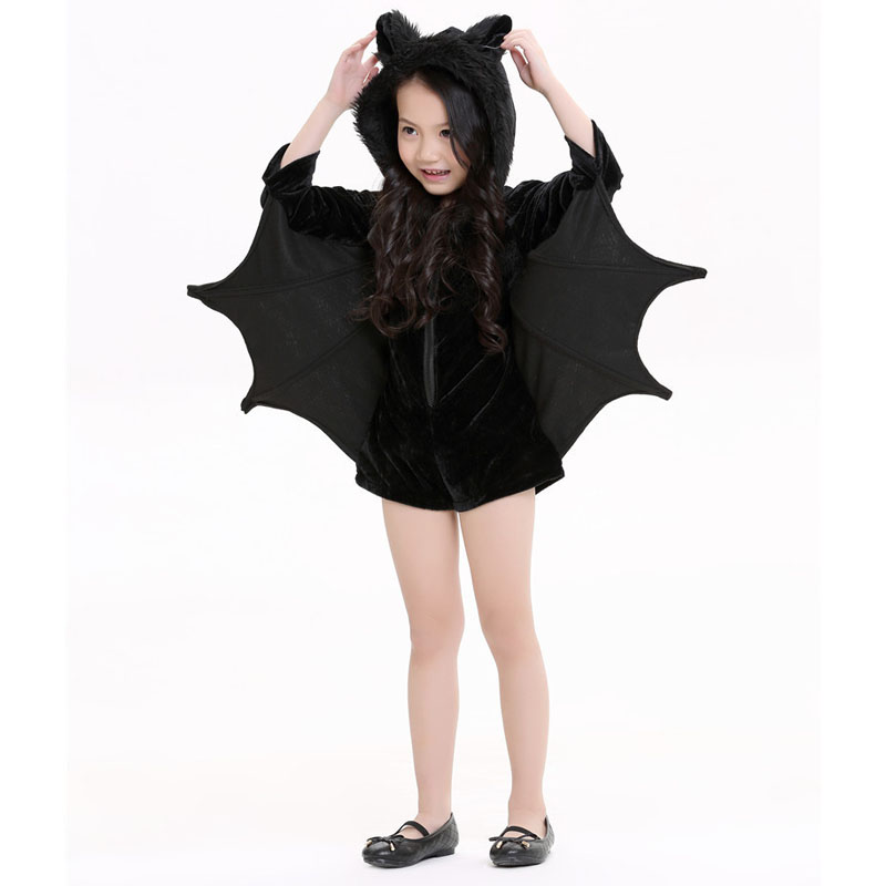 girls bat costume kids halloween costumes animal cosplay cute black zipper jumpsuit connect wings batman clothes in girls costumes from novelty special