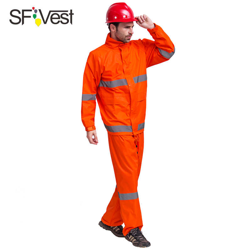 Fluorescent orange Safety Raingear Hi Vis Rainsuit Waterproof Hooded Parka & Pants with reflective tape free shipping tropical tape detail hooded sweater shirt with drawstring pants