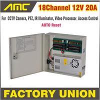 Oferta Caja de alimentación CCTV 18 canales 12 V 20A CCTV cámara PTZ IR iluminador Control de acceso para 18CH DVR cámara CCTV fuente de alimentación