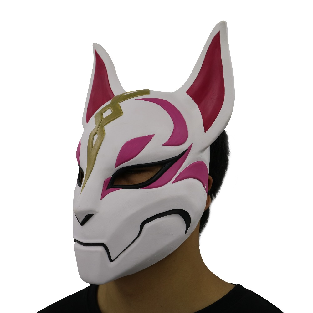 Drift Fox Mask Latex Mask Halloween Mascara Female Adult,Animal Raccoon Cat Head Mask Cospaly Man Game Costumes Accessories