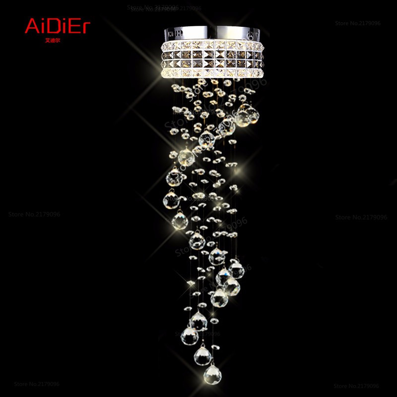 Modern simple crystal lamp chandelier long double helix staircase staircase living room lights hanging line