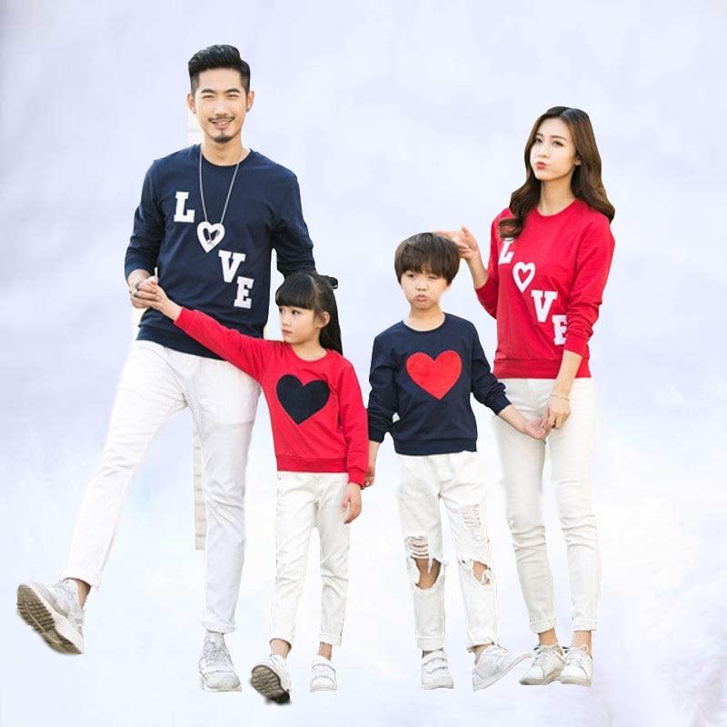 Coton t-shirts printemps automne famille vêtements famille Look 2019 famille correspondant vêtements maman papa bébé amour à manches longues