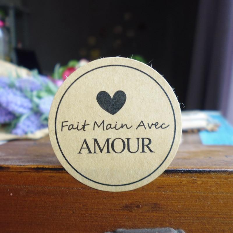 Kraft-Seal-Sticker Decor Main-Avec French Amour-Gift-Bag Candy-Box Favor Handmade-Seal