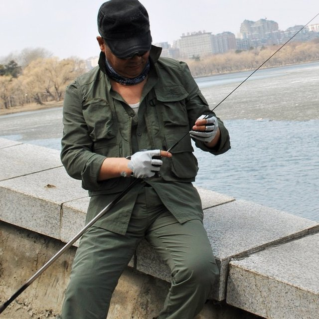 Large yards speed drying suit summer autumn and middle-aged fishing clothes men's long-sleeved quick-drying clothes