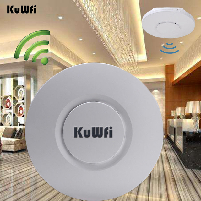 KuWfi Indoor Wireless Router 300Mbps Ceiling AP Router 2.4Ghz WiFi Access Point AP for Hotel 48V POE WI FI Signal Amplifier