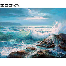 ZOOYA 3D DIY Full Diamond Embroidery Painting Cross Stitch By Numbers Landscape Beach View Blue Sea Water Stone RF914