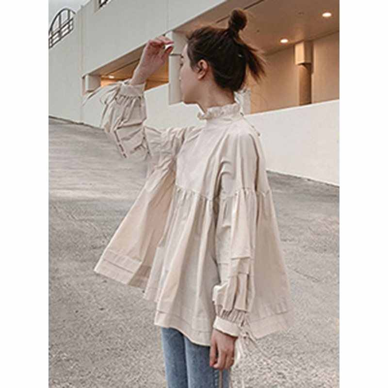 Koreaanse Stijl Vrouw Blouse Daily Elegante Buff Boog Losse Causale Shirts 2019 Zomer Bohemian High Street Strand Femme Fashion Tops