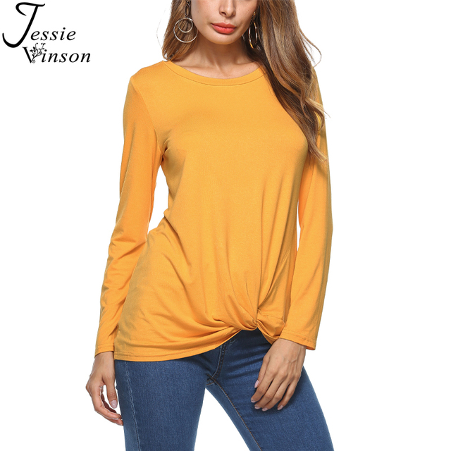 0b211a6b12cf56 Jessie Vinson Fashion Women T shirt O-neck Long Sleeve Bow Tie Hem Tee Shirts  Solid Pullover Top Autumn Winter Bottom Shirt