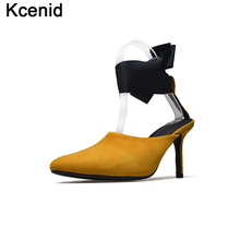 Kcenid High Quality Natural Suede Shoes Woman Heels Pumps Sexy Pointed Toe Ankle Strap Stiletto Wedding Party Summer