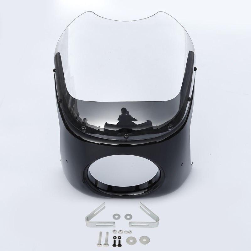 Universal Moto Moto Ronde 7 Café Racer Head Light Lampe Carénage W/Clair/Fumée De Pare-Brise Pare-Brise Couverture