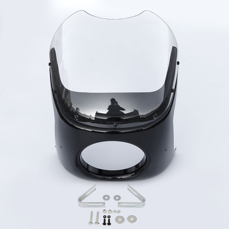 Universal Motorcycle Motorbike Round 7 Cafe Racer Head Light Lamp Fairing W/ Clear/Smoke Windshield Windscreen Wind DeflectorsUniversal Motorcycle Motorbike Round 7 Cafe Racer Head Light Lamp Fairing W/ Clear/Smoke Windshield Windscreen Wind Deflectors