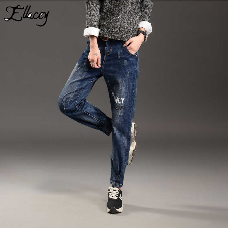 ФОТО New 2017 Europen Jeans Woman Loose Harem Pants Jeans Trousers Ripped Letter Print Vintage Denim Trousers Long Jeans