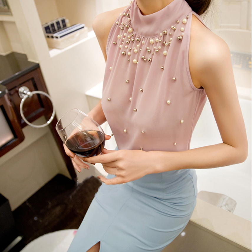 2019 New Arrival Fashion Women Beading Chiffon Blouse Fashion Sleeveless Women Turtleneck Chiffon Blouse Shirt Women Tops Ladies