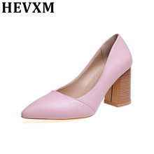 HEVXM Spring Autumn Womens Boat Shoes Pointed Toe High Hees Pumps Square  Heeled Dress Shoes Office 069cab2cd50b