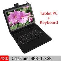 Оригинальный Новый 10 дюймовый планшетный ПК с системой андроида PC, четыре ядра, 4 Гб 128 с Google Plya Wi Fi Телефонный звонок 3g добавлена клавиатура к