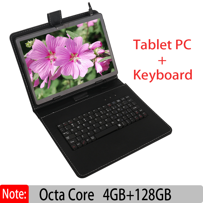 Original New 10 Inch Android Tablet PC Octa Core 4GB 128GB with Google Plya WiFi Phone Call 3G ADD Keyboard Leather Case Tablets
