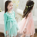 Kids Girls Long Sleeve Dress with Tutu Fall 2016 Princess Lace Dresses with Flowers for Girls Clothes Vestido Pink Green White