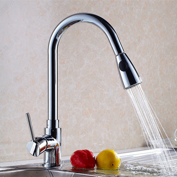 Free shipping Newly design pull out kitchen sink faucet Of hot cold kitchen faucet by solid