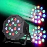 18W RGB LED Stage Light DMX Par CAN DJ Disco Uplighter Strobe Lighting for DJ Party Disco 110V 220V Power plug+Remote control