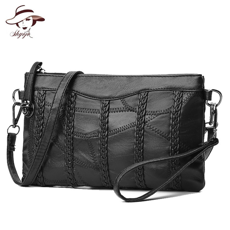 Genuine Leather Women Handbag Ladies Crossbody Bags Small Day Clutch Purses Knitting Designer Shoulder Bag Soft Messenger Bag