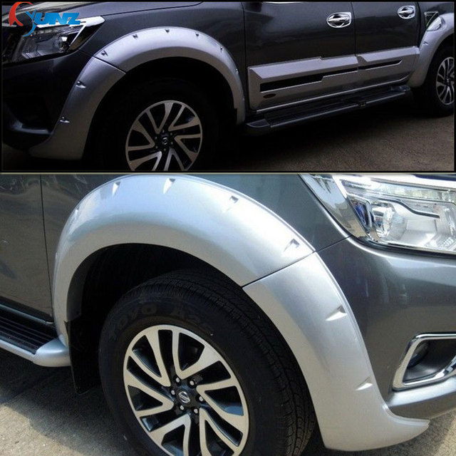 2015-2019 Silver Fender Flares For Nissan Navara Frontier 2019 Mudguard Pocket Rivet Style Suitable Nissan frontier np300 Ycsunz