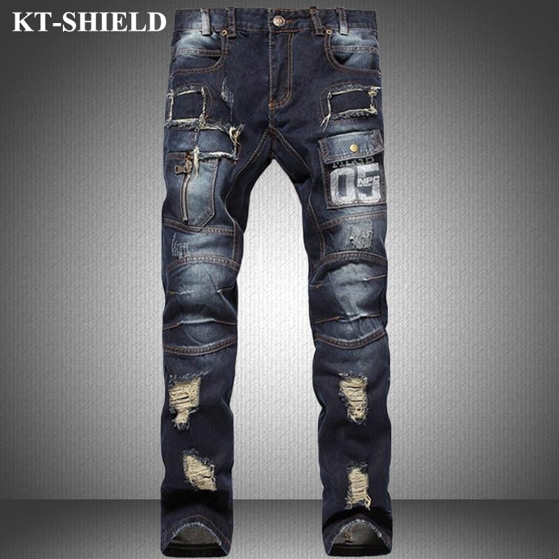 Fashion Men Jeans Brand Ripped Jeans 100 Cotton Slim fit Denim Trousers For Men Distressed Pants