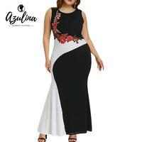 AZULINA Plus Size Embroidery Maxi Mermaid Party Dress Women Spring Elegant O Neck Sleeveless Dresses Vestido