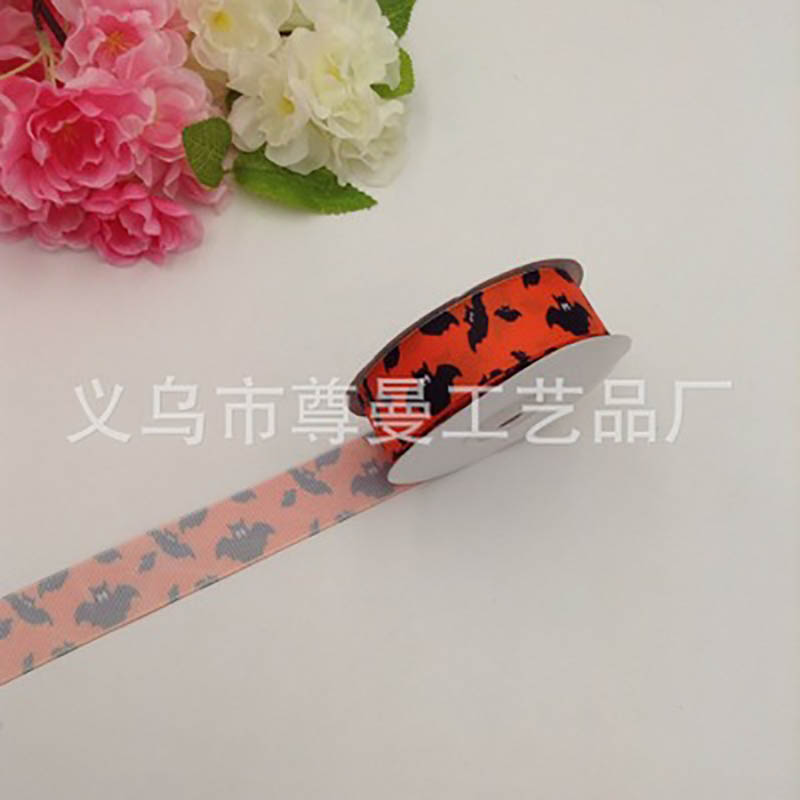 DIY New Home Textiles Clothing Ribbons Christmas Activities Decorative Printing Bat Gift Packaging Single-Sided Ribbon