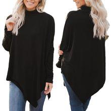 Womens Long Batwing Sleeve Turtleneck Hankerchief Hem Loose Solid T-Shirt