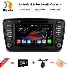HD 1024X600 Octa base Android 6.0.1 2 GB RAM 32 GB ROM DVD de Voiture lecteur pour Skoda Octavia a7 2014 2015 Radio GPS BT Stéréo Système