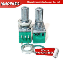 5 pces rv097ns b50k 50k 5pin único potenciômetro ligado com um interruptor amplificador de áudio potenciômetro de vedação 15mm RV097NS-B50K