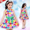 Nuevo vestido de la princesa círculo lugar encantador cintura con encaje vestidos de fiesta vestidos de La Manera muchachas de los niños vestidos de La Venta Caliente del verano 2016