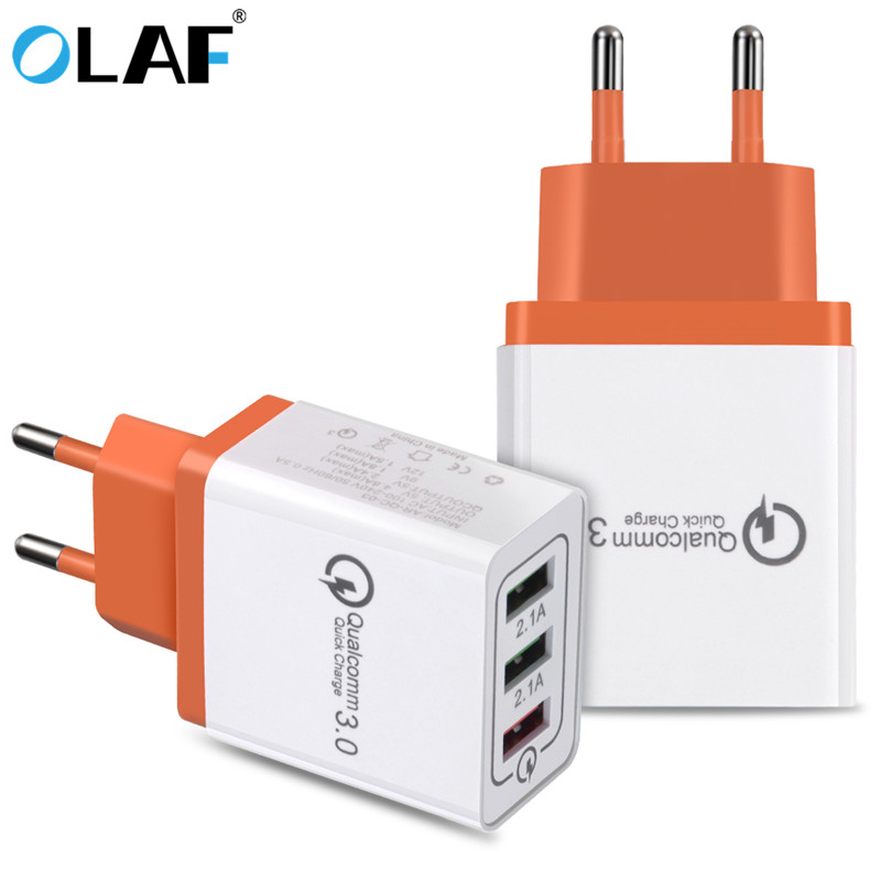 Olaf USB Charger Quick Charge 3.0 2.0 EU Phone Charger 3 Ports USB Travel Fast Charger Adapter for iPhone Xiaomi Samsung Tablets