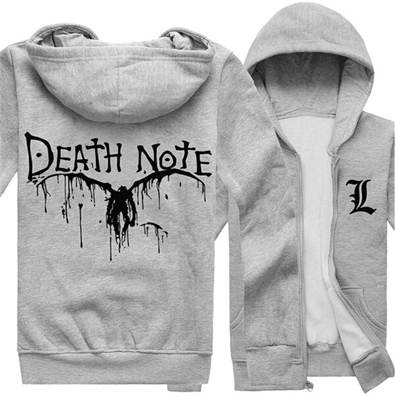 DEATH NOTE Cosplay Costumes Yagami Light Fleece Hooded Hoodies Casual Black/Gray Jacket Coat Warm Cartoon Zipper Sweatershirts