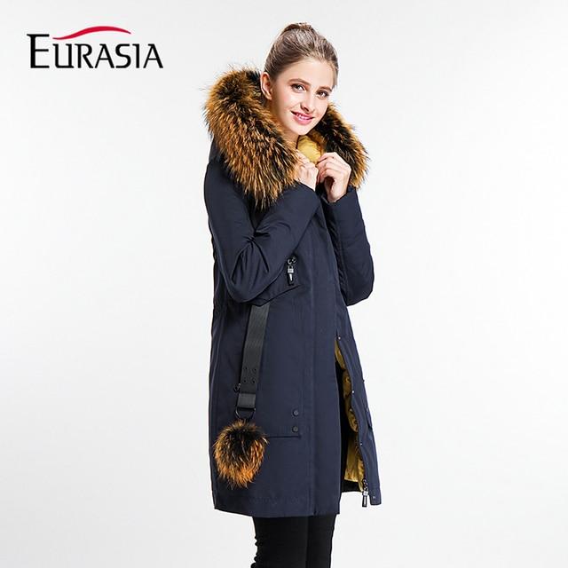 Евразия 2017 года Повседневное Для женщин зимняя куртка женская осень зима полный Леди парка натуральной меховой воротник с капюшоном Дизайн пальто Костюмы Y170022