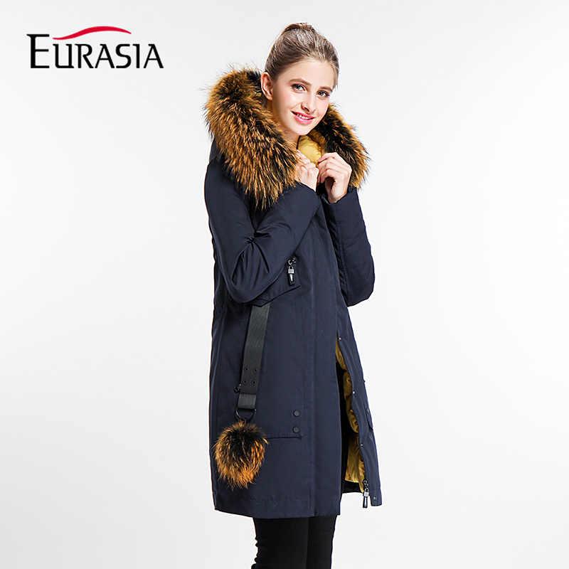Евразия 2017 года Повседневное Для женщин зимняя куртка женская осень зима  полный Леди парка натуральной меховой 4a5ec24da5d