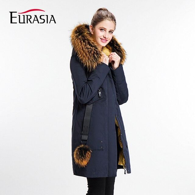 EURASIA 2017 Yeni Marka Bayan Ceket Uzun Lady Kış Parkas Tarzı Ceketler Gerçek Kürk Yaka Kalın Hood Tam Giyim Y170022